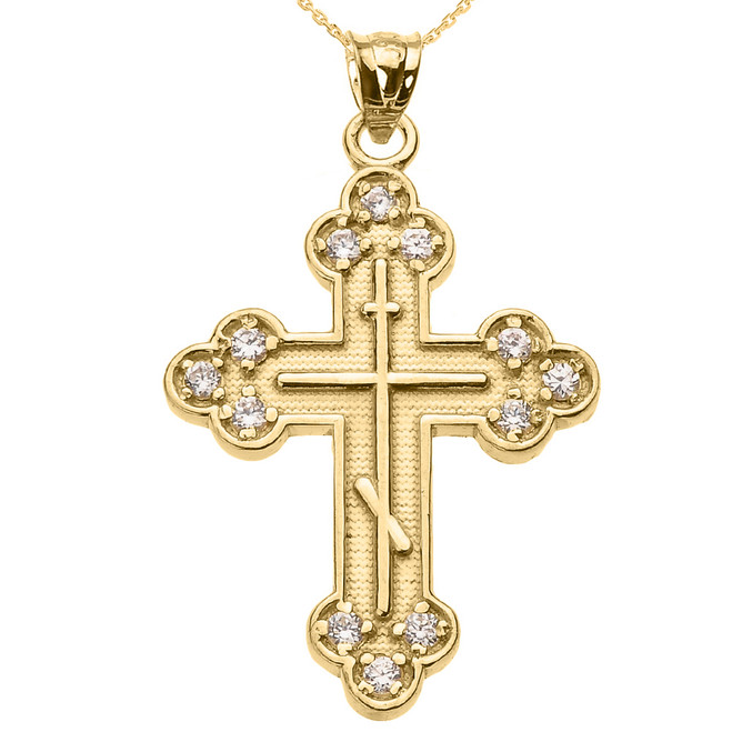 Yellow Gold Cubic Zirconia Eastern Orthodox Cross Pendant Necklace