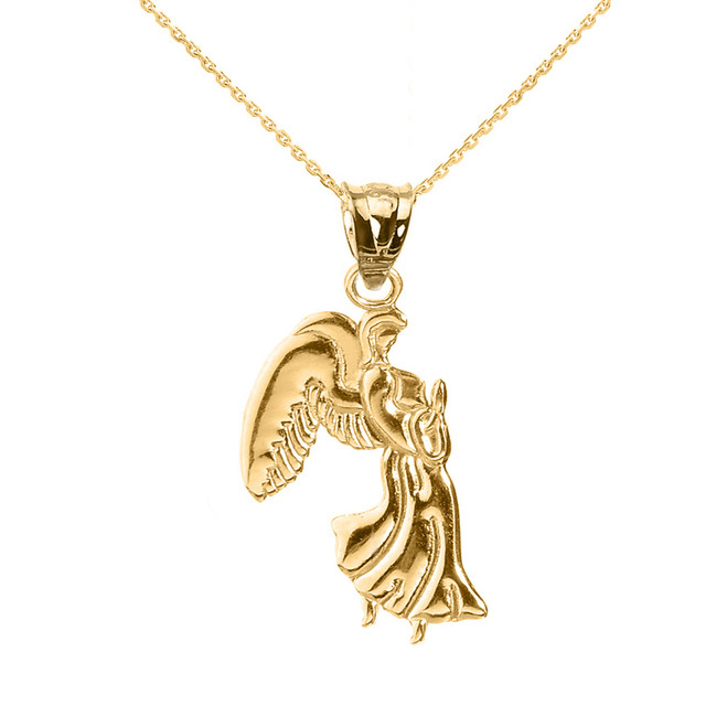Yellow Gold Praying Angel Pendant Necklace