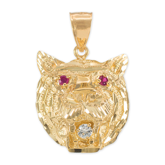 Yellow Gold Tiger Head Red CZ Pendant