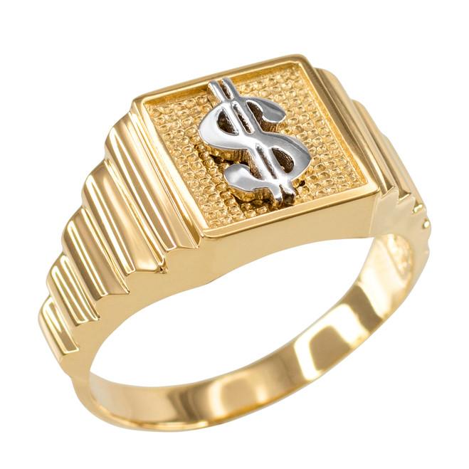 Gold Dollar Sign Square Mens Ring