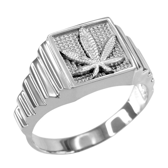 White Gold Marijuana Square Mens Ring