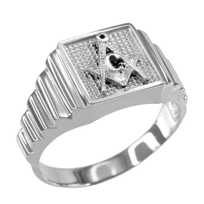 White Gold Masonic Square Mens Ring