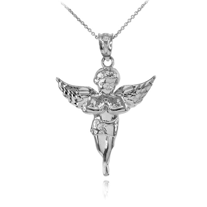 White Gold Diamond Cut Angel Pendant Necklace