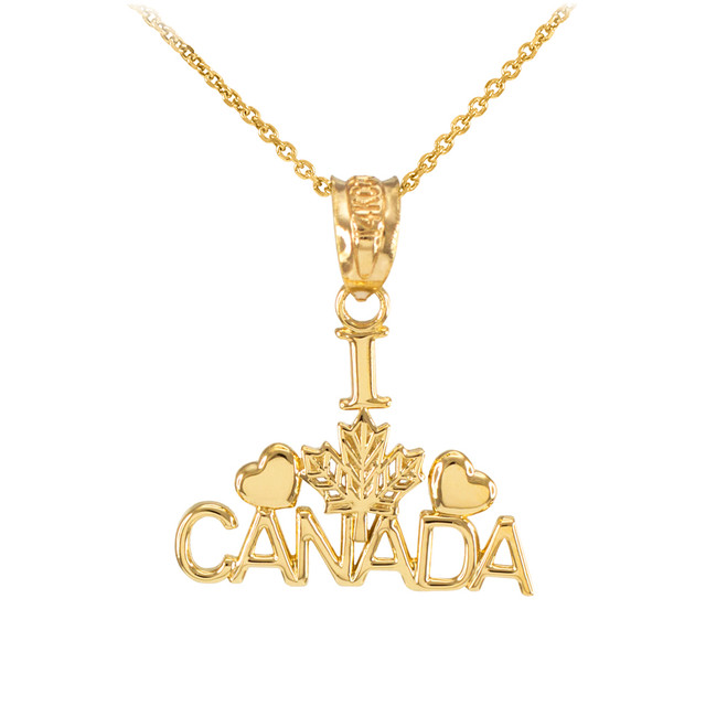 Polished Yellow Gold I Love CANADA Pendant Necklace
