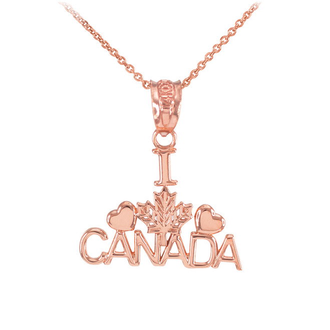 Polished Rose Gold I Love CANADA Pendant Necklace