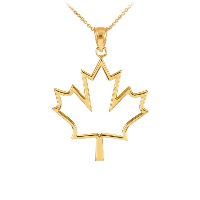 Yellow Gold Open Design Maple Leaf Pendant Necklace