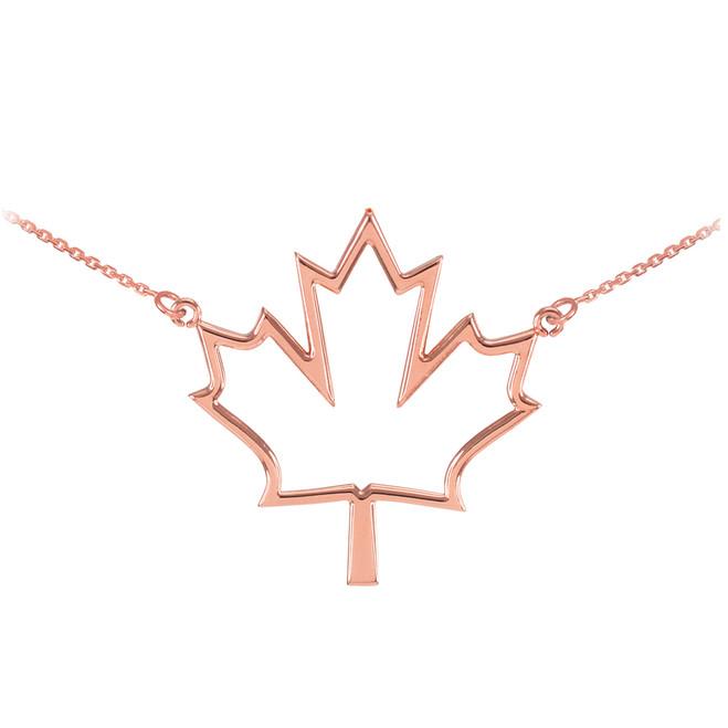 14k Rose Gold Open Design Maple Leaf Charm Necklace