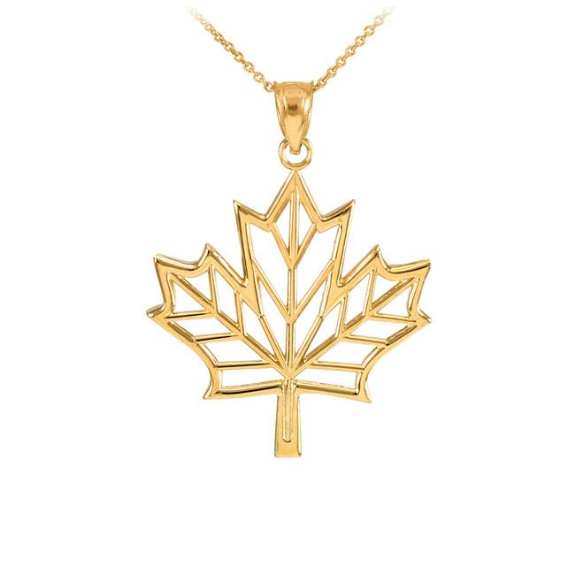 Polished Gold Open Design Maple Leaf Pendant Necklace