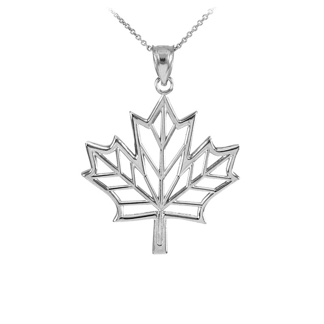 Polished White Gold Open Design Maple Leaf Pendant Necklace