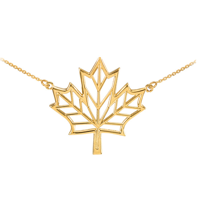 Polished 14k Yellow Gold Open Design Maple Leaf Necklace