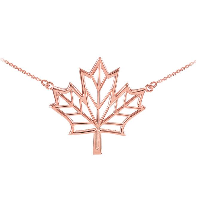 Polished 14k Rose Gold Open Design Maple Leaf Necklace