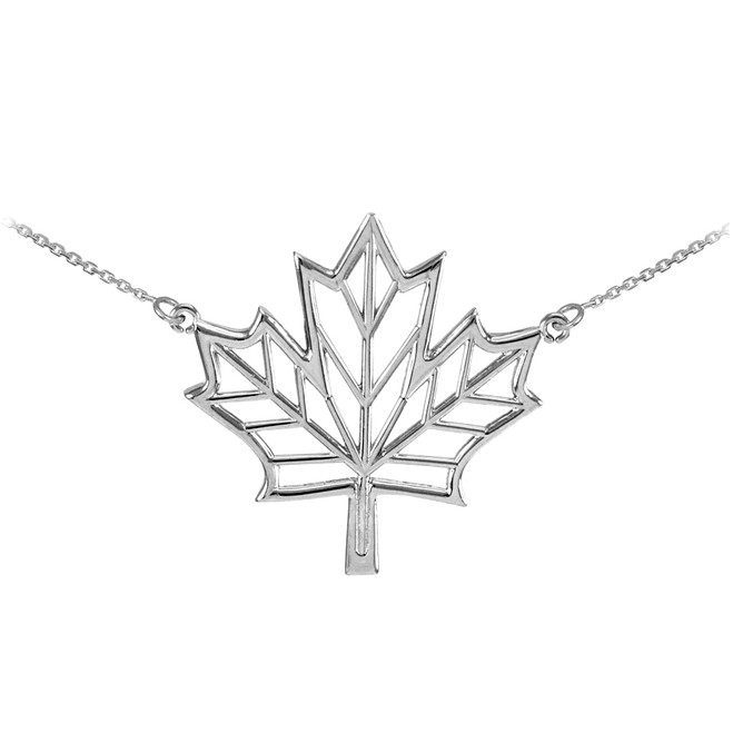 Polished Silver Open Design Maple Leaf Necklace