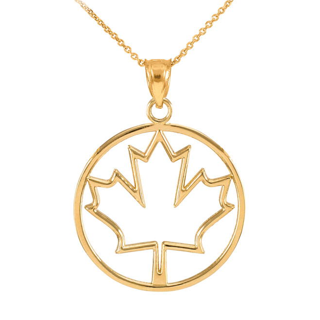 Gold Open Design Maple Leaf Pendant Necklace