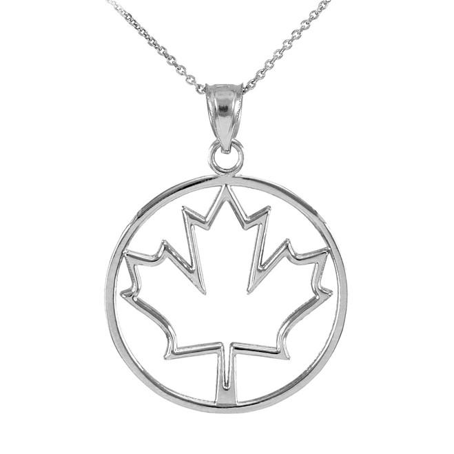 White Gold Maple Leaf Open Design Pendant Necklace