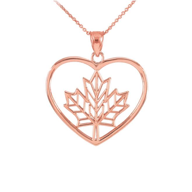 Rose Gold Maple Leaf Open Heart Pendant Necklace