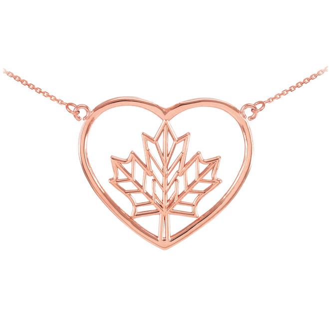 14k Rose Gold Maple Leaf Open Heart Necklace