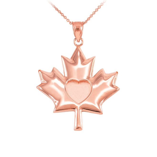 Solid Rose Gold Heart Maple Leaf Pendant Necklace