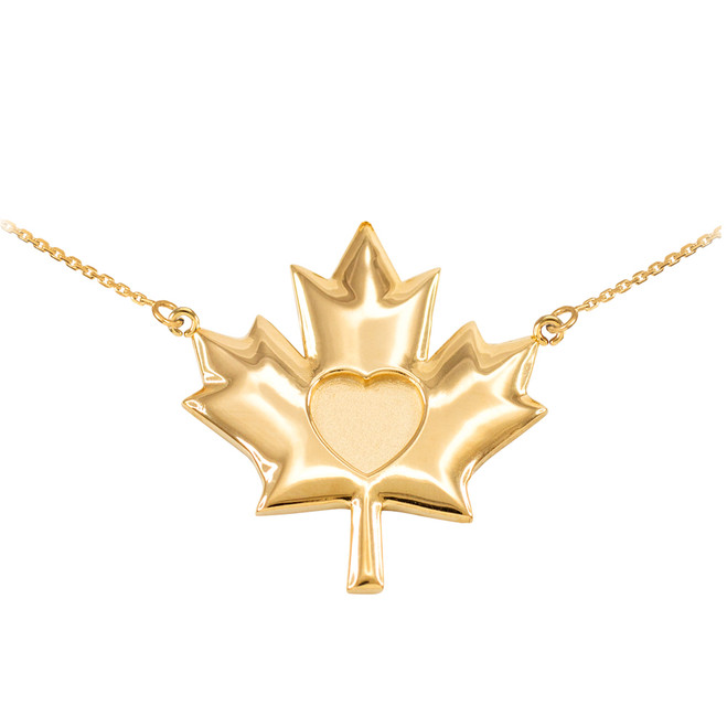 Solid 14k Yellow Gold Heart Maple Leaf Necklace