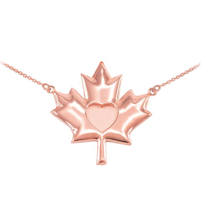 Solid 14k Rose Gold Heart Maple Leaf Necklace