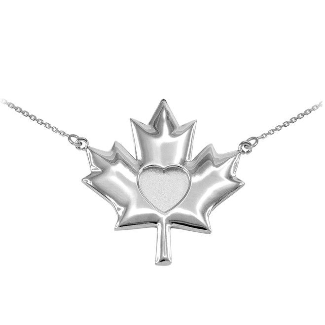 Solid 925 Sterling Silver Heart Maple Leaf Necklace