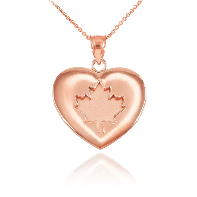 Solid Rose Gold Maple Leaf Heart Pendant Necklace