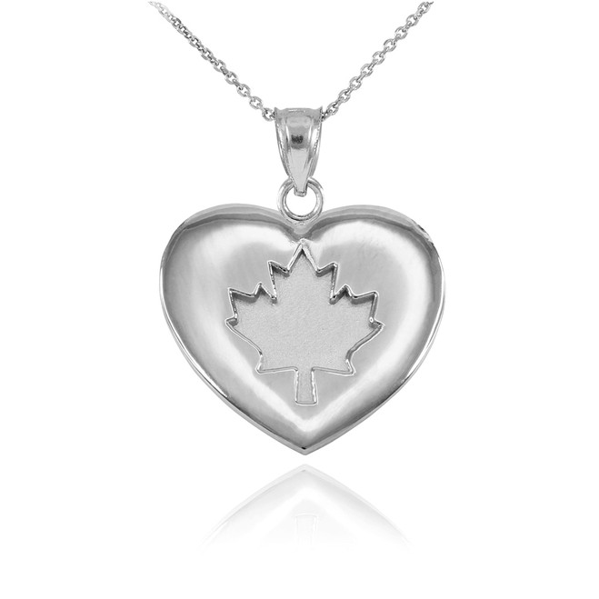 Solid 925 Sterling Silver Maple Leaf Heart Pendant Necklace
