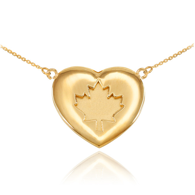 Solid 14k Yellow Gold Maple Leaf Heart Necklace