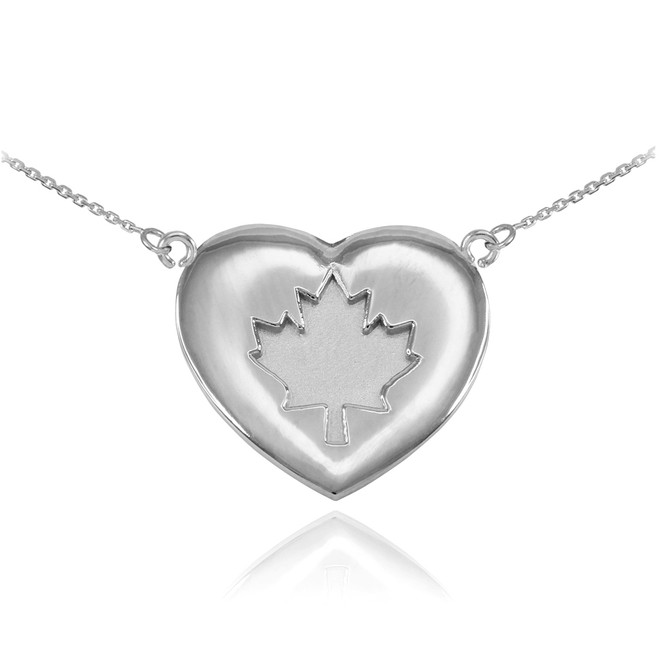 Solid 14k White Gold Maple Leaf Heart Necklace