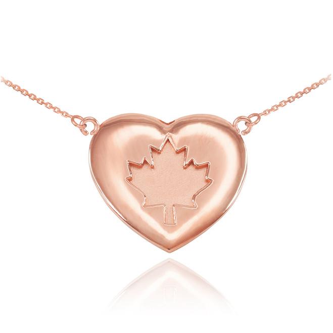 Solid 14k Rose Gold Maple Leaf Heart Necklace
