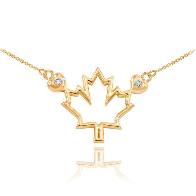 14k Yellow Gold Open Design Maple Leaf Diamond Necklace