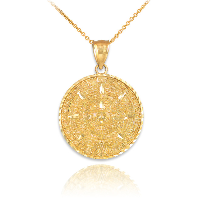 solid gold detailed aztec pendant necklace