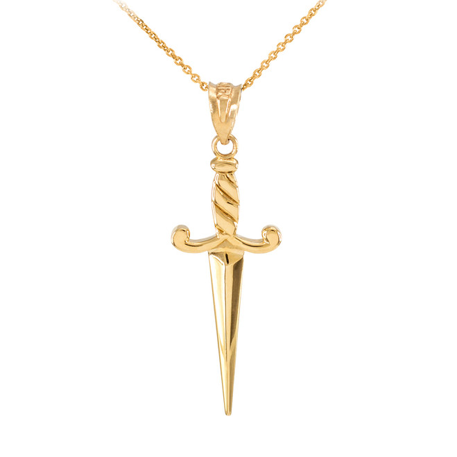 Yellow Gold Dagger Knife Pendant Necklace