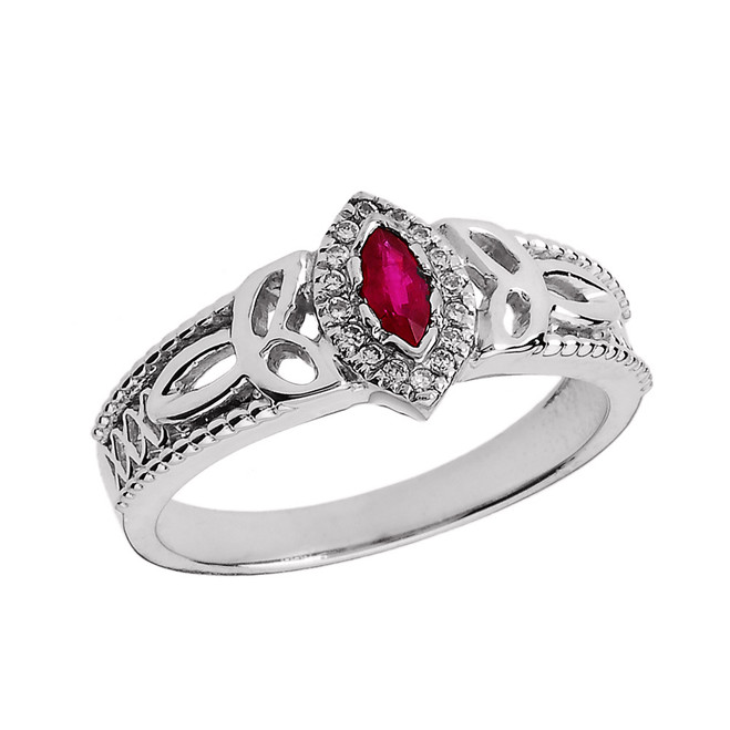 White Gold Ladies Ruby and Diamond Trinity Knot Proposal Ring