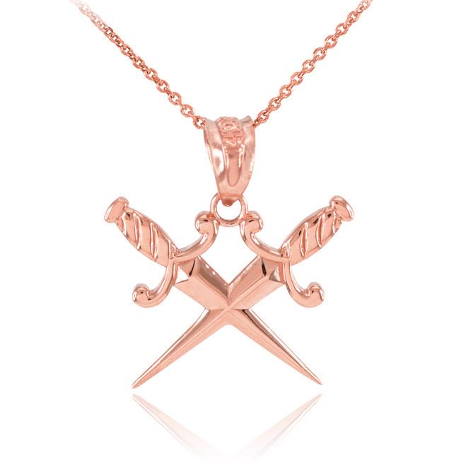 Rose Gold Crossed Daggers Pendant Necklace