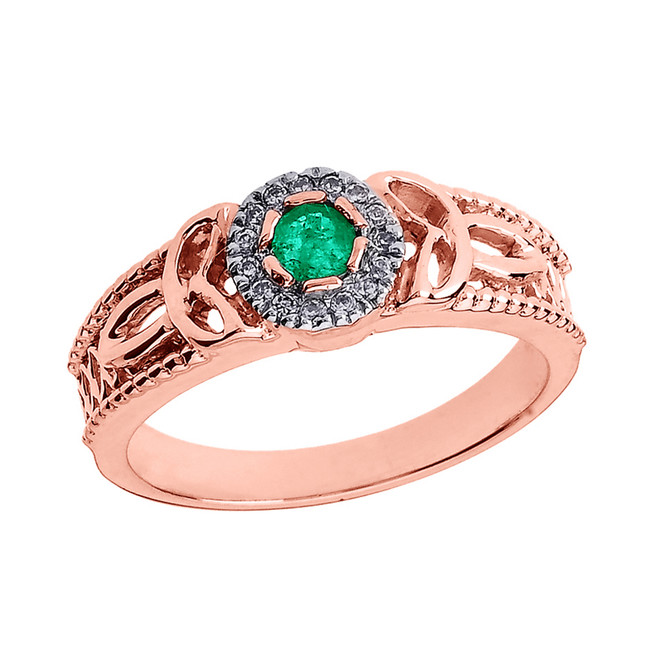 Rose Gold Ladies Emerald and Diamond Trinity Knot Proposal Ring