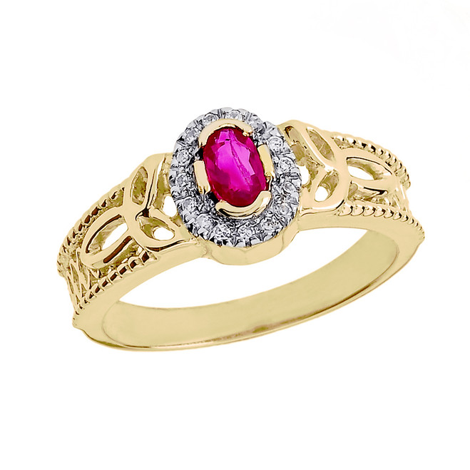 Yellow Gold Ruby and Diamond Trinity Knot Ladies Proposal Ring