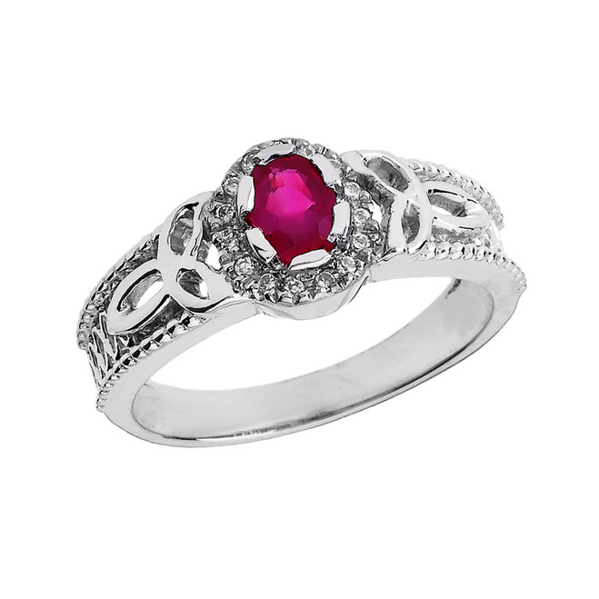 White Gold 0.25 Carat Ruby and Diamond Trinity Knot Ladies Proposal Ring