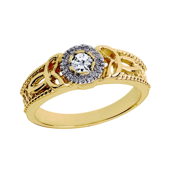 Yellow Gold Ladies Diamond Trinity Knot Proposal Ring