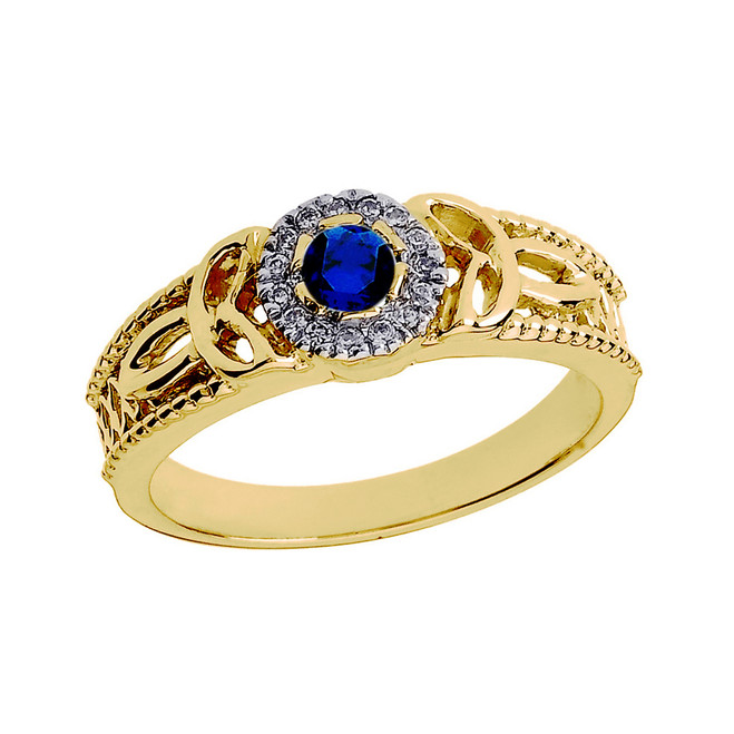 Yellow Gold Ladies Sapphire and Diamond Trinity Knot Proposal Ring