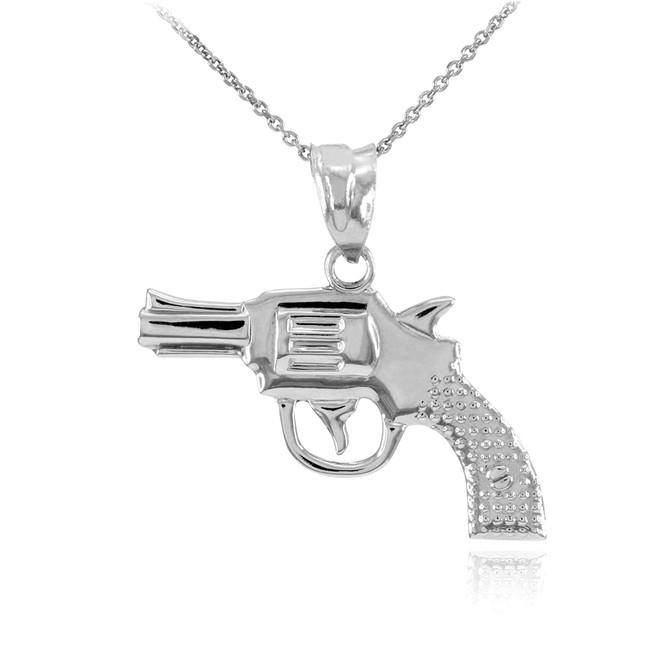 Solid White Gold Revolver Pistol Gun Pendant Necklace