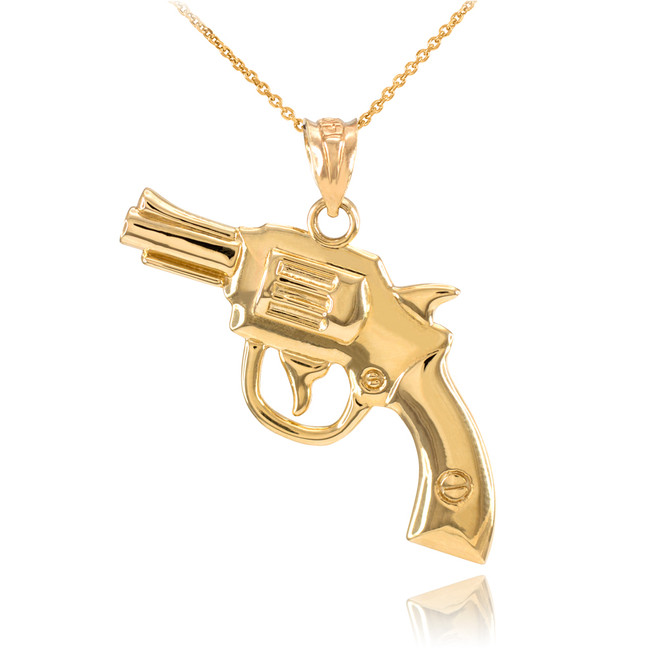 Solid Gold Revolver Gun Pendant Necklace