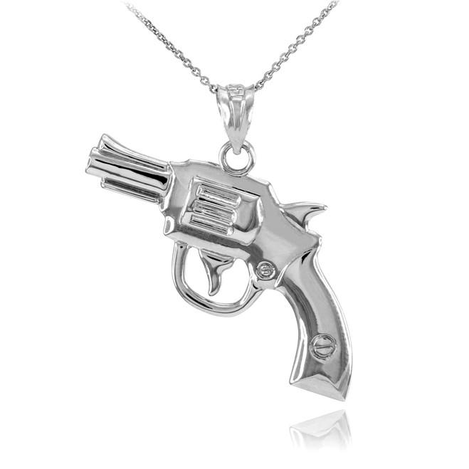 Solid White Gold Revolver Gun Pendant Necklace