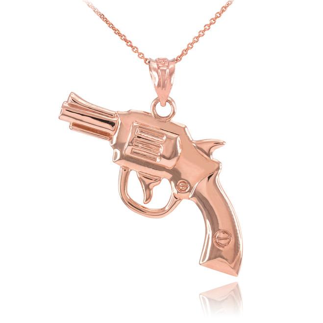 Solid Rose Gold Revolver Gun Pendant Necklace