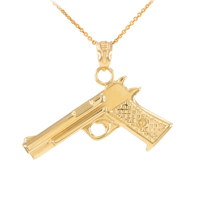 Solid Gold Pistol Gun Pendant Necklace