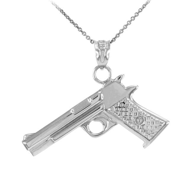 Solid Sterling Silver Pistol Gun Pendant Necklace