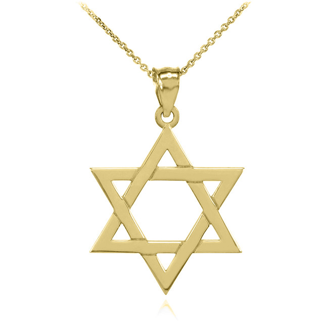 Yellow Gold Jewish Star of David Charm Pendant Necklace (Small)