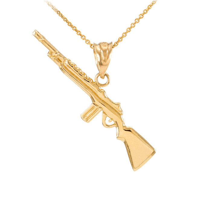 Yellow Gold Rifle with Magazine Pendant Necklace