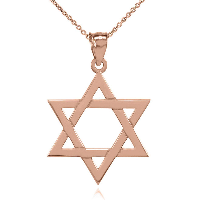 Solid Rose Gold Jewish Star of David Pendant Necklace (Medium)