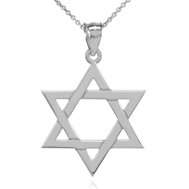 Solid White Gold Jewish Star of David Pendant Necklace (Large)