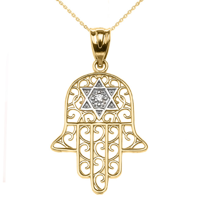 Yellow Gold Hamsa Hand With Star of David Pendant Necklace